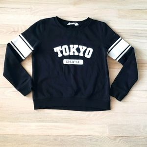 H&M Tokyo Graphic Black White Sweatshirt with Stripes on Sleeves Size 10-12